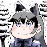 1girl :i animal_ears blue_eyes blue_jacket blue_neckwear blush bow bowtie commentary_request fox_ears grey_hair hare_(tetterutei) jacket kemono_friends long_hair looking_at_viewer multicolored_hair no_nose pine_tree silver_fox_(kemono_friends) snot snow snowing solo tree trembling two-tone_hair upper_body