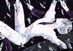 1other androgynous antarcticite blue_eyes breaking colored_eyelashes crack crystal dark_background gem gem_uniform_(houseki_no_kuni) gloves high_heels houseki_no_kuni looking_at_viewer necktie shards short_hair silver_hair solo sparkle white_hair