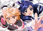 2girls blue_eyes blue_hair brown_eyes brown_hair cure_black cure_white detached_sleeves earrings foreshortening frills futari_wa_precure grin hand_holding jewelry long_hair looking_at_viewer magical_girl mesushirindaa misumi_nagisa multiple_girls open_mouth orange_eyes orange_hair outstretched_hand ponytail precure short_hair smile teeth thick_eyebrows wind yukishiro_honoka