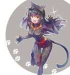 1girl black_hair black_panther_(film) blake_belladonna bodysuit bow cat_tail claws cosplay hair_bow highres iesupa killmonger long_hair rwby solo tail yellow_eyes