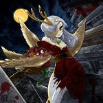 asymmetrical_wings bat_wings blood breasts chimera cleavage eyes hair_over_one_eye highres horns japanese_clothes kimono long_hair magatama night norihiko original tail torii white_hair wings yellow_eyes