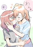 2girls blush brown_hair casual closed_eyes embarrassed kousaka_honoka love_live!_school_idol_project multiple_girls niina_ryou nishikino_maki off_shoulder open_mouth redhead short_hair side_ponytail smile violet_eyes