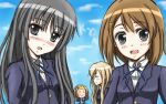akiyama_mio bad_id bangs black_hair blunt_bangs blush brown_hair hime_cut hirasawa_yui k-on! kotobuki_tsumugi long_hair multiple_girls school_uniform tainaka_ritsu wakame