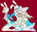 armband blood bunny_ears eyepatch gradient hug long_hair monochrome rabbit_ears red_background short_hair siesta00 siesta410 siesta45 siesta556 siesta_sisters sketch tears thigh-highs thighhighs twintails umineko_no_naku_koro_ni zettai_ryouiki