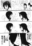 2girls :d absurdres bags_under_eyes blazer comic gomihitosi hand_holding highres jacket kuroki_tomoko monochrome multiple_girls necktie open_mouth profile school_uniform smile sweatdrop sweater tamura_yuri translation_request watashi_ga_motenai_no_wa_dou_kangaetemo_omaera_ga_warui!