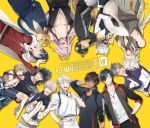 6+boys ;d ^_^ animal_ears armor artist_name bandanna black_gloves black_hair blonde_hair blue_eyes brown_eyes brown_hair carrying closed_eyes cosplay costume_switch doudanuki_masakuni english eyepatch facepalm fox fox_ears fox_tail gloves hand_on_hip hands_clasped heshikiri_hasebe highres jacket japanese_armor japanese_clothes kemonomimi_mode kikkou_sadamune ko-man kogitsunemaru maeda_toushirou male_focus menpoo mikazuki_munechika mikazuki_munechika_(cosplay) multiple_boys nakigitsune nakigitsune's_fox one_eye_closed oodenta_mitsuyo ookurikara ookurikara_(cosplay) open_mouth own_hands_together princess_carry purple_hair raccoon_ears raccoon_tail red_eyes revision sengo_muramasa_(touken_ranbu) shaded_face shibari shibari_over_clothes shokudaikiri_mitsutada shokudaikiri_mitsutada_(cosplay) smile tail touken_ranbu track_jacket tsurumaru_kuninaga white_hair yamanbagiri_kunihiro yamanbagiri_kunihiro_(cosplay) yellow_eyes