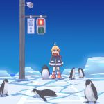 1girl ahoge animal bird blonde_hair crosswalk highres hijikata-san_(m.m) ice koshirae_tsurugi long_hair m.m original ponytail