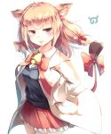 1girl absurdres animal_ears bell blush bow bowtie collared_shirt commentary_request cow_ears cow_tail cowboy_shot eyebrows_visible_through_hair frilled_skirt frills hair_bow hand_on_hip highres jacket jersey_cattle_(kemono_friends) kanzakietc kemono_friends light_brown_hair long_sleeves neck_bell neck_ribbon pleated_skirt ribbon shirt short_hair skirt solo tail tail_bow