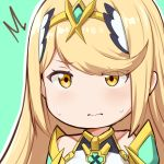 /\/\/\ 1girl bangs blonde_hair blush chibi circlet closed_mouth commentary embarrassed english_commentary eyes_visible_through_hair green_background hews_hack hikari_(xenoblade_2) looking_at_viewer outline simple_background solo sweatdrop swept_bangs upper_body white_outline xenoblade_(series) xenoblade_2 yellow_eyes