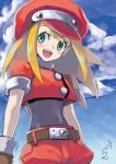 1girl bangs belt belt_buckle blonde_hair blush bodysuit brown_gloves buckle buttons cap capcom clouds covered_navel cowboy_shot dated gloves green_eyes hat highres long_hair looking_to_the_side open_mouth rockman rockman_dash roll_caskett short_sleeves shorts sidelocks signature sky smile solo sumomo teeth undershirt