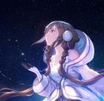 1girl absurdly_long_hair absurdres braid brown_hair character_request collarbone dress headphones highres long_hair night night_sky parted_lips sky solo star_(sky) starry_sky stellarism twin_braids upper_body utau very_long_hair white_dress