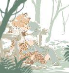 2girls animal_ears blonde_hair bow bowtie closed_eyes commentary_request elbow_gloves fingerless_gloves fur_collar gloves grey_hair jaguar_(kemono_friends) jaguar_ears jaguar_print jaguar_tail kemono_friends kiss kiss_day mitsumoto_jouji multicolored_hair multiple_girls one-piece_swimsuit otter_ears otter_tail see-through short_hair short_sleeves skirt small-clawed_otter_(kemono_friends) swimsuit tail thigh-highs water white_hair yuri