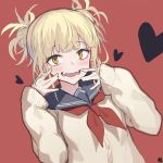 1girl :d blonde_hair blush boku_no_hero_academia brown_eyes cardigan commentary_request dutch_angle fangs hair_bun hands_up heart heart-shaped_pupils highres long_sleeves looking_at_viewer neckerchief open_mouth red_background red_neckwear school_uniform sidelocks simple_background sleeves_past_wrists smile solo symbol-shaped_pupils toga_himiko u.a._school_uniform yuri_shoutu