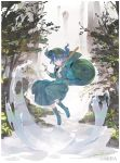 1boy backpack bag blue_eyes blue_hair boots floating hat highres kawashiro_nitori key long_hair looking_at_viewer nature river shihou_(g-o-s) skirt solo touhou tree twintails water waterfall