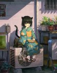 1girl air_conditioner animal animal_ears aquarium ball bangs black_cat black_hair brown_eyes cat cat_ears cat_tail covering_mouth eating geta highres japanese_clothes kimono long_sleeves looking_at_viewer obi original plant plate potted_plant sash sho_(sho_lwlw) short_hair signature sitting solo tabi tail whisker_markings wide_sleeves yukata