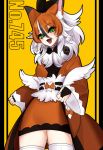 1girl :3 :d animal_ears bangs black_hair black_nails bone bow bridal_gauntlets eyebrows eyebrows_visible_through_hair eyes_visible_through_hair fang fingernails fur_collar gen_7_pokemon hair_between_eyes hime_(ohime_pkg) japanese_clothes kimono long_hair long_sleeves lycanroc multicolored_hair nail_polish number obi open_mouth orange_bow orange_hair orange_kimono personification pokemon sash skull smile solo streaked_hair thigh-highs tongue white_hair white_legwear wide_sleeves wolf_ears yellow_background zettai_ryouiki