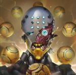 andrea_casartelli aqua_eyes berserker_rage broken_helmet chromatic_aberration commentary crack damaged english_commentary eyes neon_genesis_evangelion no_humans omnic open_mouth orb overwatch parody signature solo teeth upper_body zenyatta_(overwatch)