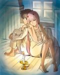 1boy 1girl albyeee back-to-back bangs barefoot black_hair blue_eyes candle candlestand closed_eyes collarbone commentary couple darling_in_the_franxx fingernails fringe hand_holding hand_on_own_knee hetero highres hiro_(darling_in_the_franxx) horns leg_hug long_hair looking_back nightgown oni_horns pajamas pink_hair red_horns short_hair sitting sleeveless white_pajamas zero_two_(darling_in_the_franxx)