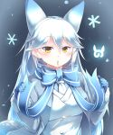 1girl absurdres animal_ears blue_hair blush bow bowtie buttons coat commentary_request eyebrows_visible_through_hair fox_ears highres jacket japari_symbol kanzakietc kemono_friends long_hair long_sleeves multicolored_hair necktie scarf shiroi-kitakitsune_(kemono_friends) snowflakes solo upper_body white_hair