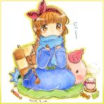 1girl blanket blue_robe blue_scarf border braid brown_hair candy character_pillow covered_mouth cup drink food gipple graphite_(medium) hairband kukuri looking_at_viewer mahoujin_guruguru mechanical_pencil mug pencil pillow pink_hairband popurieru scarf sitting solo staff steam traditional_media twin_braids watercolor_pencil_(medium) wrapped_candy yellow_border