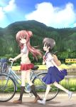 2girls backpack bag bicycle bicycle_basket bicycle_seat black_hair black_hairclip black_legwear blue_skirt blue_sky bow bowtie brown_footwear brown_hair building bush collared_shirt fence grass ground_vehicle hair_ornament hairclip long_hair looking_at_another low_twintails multiple_girls nanase_miori one_side_up open_mouth original outdoors pleated_skirt randoseru red_bow red_neckwear red_ribbon red_scrunchie red_skirt ribbon road rust school_uniform serafuku shadow shirt shoes short_hair short_sleeves skirt sky smile sweater_vest tree twintails vest walking wheel white_footwear white_legwear white_shirt yellow_vest