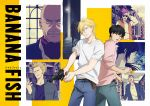 ash_lynx bald banana_fish belt black_eyes black_hair blonde_hair collage copyright_name cowboy_shot facial_hair green_eyes gun handgun highres key_visual long_hair multiple_boys mustache official_art okumura_eiji pants pink_shirt revolver shirt short_hair sunglasses t-shirt upper_body weapon white_shirt