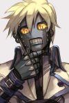 1boy belt blonde_hair buckle chin_stroking collared_jacket guilty_gear hankuri rivets robo-ky robot yellow_eyes