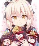 >_< 1boy 3girls :d ahoge bangs black_bow black_hair black_hat black_scarf blush bow brown_eyes brown_hair chacha_(fate/grand_order) chibi closed_eyes closed_mouth commentary_request eyebrows_visible_through_hair family_crest fate/grand_order fate_(series) hair_between_eyes hair_bow haori hat japanese_clothes koha-ace light_brown_hair long_hair long_sleeves minigirl multiple_girls o_o object_hug oda_nobukatsu_(fate/grand_order) oda_nobunaga_(fate) oda_uri okita_souji_(fate) open_mouth peaked_cap red_hat red_scarf rioshi scarf smile wavy_mouth xd