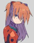 1girl bangs blue_eyes bodysuit bright_pupils cellphone closed_mouth eyepatch frown grey_background hair_between_eyes head_tilt long_hair miyata_(lhr) multicolored multicolored_bodysuit multicolored_clothes neon_genesis_evangelion number orange_hair phone pilot_suit plugsuit rebuild_of_evangelion smartphone solo souryuu_asuka_langley straight_hair turtleneck two_side_up upper_body white_pupils