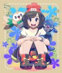 1girl :d absurdres bag bangs bare_arms beanie black_eyes black_hair bracelet eyebrows eyelashes facing_viewer floral_print gen_7_pokemon handbag hands_on_own_knees hat highres jewelry litten looking_at_viewer midoko mizuki_(pokemon) open_mouth pigeon-toed poke_ball_theme pokemon pokemon_(creature) pokemon_(game) pokemon_sm popplio red_hat rowlet shirt shoes short_hair smile sneakers squatting swept_bangs t-shirt teeth tongue white_shirt z-ring
