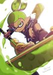 1boy artist_name bike_shorts black_footwear blurry_foreground boots closed_mouth commentary_request dark_skin dark_skinned_male domino_mask dynamo_roller_(splatoon) green_eyes green_hair holding holding_weapon ink_tank_(splatoon) inumaru_akagi jacket leather leather_jacket leg_up long_sleeves looking_at_viewer male_focus mask nail_polish pixiv_id pointy_ears rider-kun_(splatoon) scrunchie signature smile solo splatoon splatoon_(manga) standing standing_on_one_leg tentacle_hair topknot v-shaped_eyebrows weapon