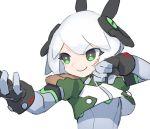 android cheri_zao crop_top fighting_stance fingerless_gloves gloves green_eyes headgear kung_fu original smile white_hair
