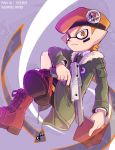 1boy army-kun_(splatoon) artist_name beret black_shorts book boots closed_mouth coat commentary_request cross-laced_footwear domino_mask dress_shirt echolocator_(splatoon) emblem facepaint frown green_coat hat holding holding_book holding_weapon inumaru_akagi invisible_chair jacket lace-up_boots legs_crossed long_sleeves male_focus mask n-zap_(splatoon) open_clothes open_coat orange_eyes orange_hair pixiv_id pointy_ears red_footwear shirt shorts sitting solo sparkle splatoon splatoon_(manga) tentacle_hair weapon white_shirt