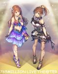 2girls absurdres black_gloves blue_eyes blush breasts brown_eyes brown_hair commentary_request copyright_name dress feathers full_body gloves hair_feathers hairband highres idolmaster idolmaster_million_live! jewelry long_hair looking_at_viewer medium_breasts midriff multiple_girls nanaran navel open_mouth ponytail satake_minako smile tanaka_kotoha