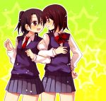 2girls bangs brown_eyes brown_hair closed_mouth eyebrows_visible_through_hair hachiko_(hati12) hair_between_eyes hand_on_hip locked_arms long_sleeves looking_at_another multiple_girls open_mouth pink_shirt pleated pleated_skirt purple_skirt red_neckwear school_uniform shirt short_hair skirt yellow_background yuri