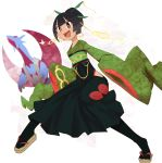 1girl :d absurdres alternate_costume bangs black_hair black_hakama black_legwear blunt_bangs breasts bright_pupils brown_eyes dark_skin dragon eyebrows eyebrows_visible_through_hair facing_away floral_print gen_3_pokemon geta hair_ornament hair_stick hair_up hakama hakama_skirt haori higana_(pokemon) highres hip_vent japanese_clothes legs_apart long_sleeves looking_away mega_pokemon mega_salamence nyonn24 obi open_mouth pantyhose pokemon pokemon_(creature) pokemon_(game) pokemon_oras salamence sash short_hair sleeves_past_fingers small_breasts smile tongue white_pupils wide_sleeves