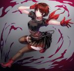 1girl arched_back arms_up bangs bare_arms belt braid brown_hair chains choker closed_mouth crown_braid foot_up full_body gloves highres looking_at_viewer niijima_makoto outstretched_arm outstretched_leg persona persona_5 persona_5:_dancing_star_night plaid plaid_skirt red_eyes red_footwear red_gloves shirt shoes short_hair short_sleeves skirt smile solo thigh-highs twisted_torso yaoto zettai_ryouiki