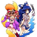 2girls ;d bangs barefoot belt blue_bow blue_eyes blue_fire blue_hair blue_skirt blush boots bow bowl bracelet chibi coat cropped_legs cross-laced_footwear damaged debt dress drill_hair earrings eyebrows_visible_through_hair eyewear_on_head feather_fan fire grey_hoodie hair_bow hair_ribbon hand_holding hand_on_own_chest hat high_collar jewelry knee_boots leg_lift long_hair long_sleeves looking_at_viewer multiple_girls nitamago one_eye_closed open_clothes open_coat open_mouth patterned_clothing pendant pink_dress purple_coat red_ribbon redhead ribbon ring short_hair short_sleeves siblings simple_background sisters skirt smile standing standing_on_one_leg stuffed_animal stuffed_cat stuffed_toy sunglasses top_hat touhou twin_drills white_background wide_sleeves yorigami_jo'on yorigami_shion
