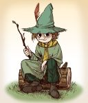 1boy brown_hair gradient gradient_background hat hat_feather highres log male_focus moomin sitting snufkin solo stick suzushiro_(suzushiro333) tunic witch_hat