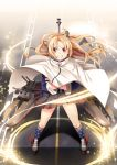 1girl american_flag_legwear azur_lane blonde_hair capelet cleveland_(azur_lane) crossed_arms eyebrows_visible_through_hair eyes_visible_through_hair grin highres long_hair looking_at_viewer machinery one_side_up pleated_skirt red_eyes rigging skirt smile socks solo turret yasume_yukito