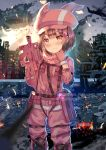 1girl aircraft airplane airship animal_hat bandanna blush building bullpup bunny_hat camouflage closed_mouth clouds commentary_request corpse fire fur-trimmed_gloves fur_trim gameplay_mechanics gloves ground_vehicle gun hat head_tilt holding holding_gun holding_weapon jacket llenn_(sao) looking_at_viewer nose_blush outdoors p-chan_(p-90) p90 pants pink_bandana pink_gloves pink_hat pink_jacket pink_pants red_eyes ruins sky skyscraper smile smoke solo submachine_gun sword_art_online sword_art_online_alternative:_gun_gale_online train weapon xephonia