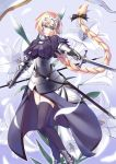 1girl armor armored_boots armored_dress black_ribbon blonde_hair boots braid fate/grand_order fate_(series) flag flagpole flower hair_ribbon headpiece highres holding holding_sword holding_weapon jeanne_d'arc_(fate) jeanne_d'arc_(fate)_(all) lily_(flower) long_braid long_hair purple_legwear ribbon shukuzaki single_braid solo sword thigh-highs very_long_hair violet_eyes weapon