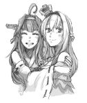 2girls ahoge artist_name bare_shoulders blush braid closed_eyes closed_mouth crown dated detached_sleeves double_bun dress french_braid greyscale grin hair_between_eyes hairband headgear hug japanese_clothes jewelry kantai_collection kongou_(kantai_collection) long_hair looking_at_viewer mini_crown monochrome multiple_girls necklace off-shoulder_dress off_shoulder ribbon-trimmed_sleeves ribbon_trim simple_background smile teeth upper_body warspite_(kantai_collection) white_background yamada_rei_(rou)
