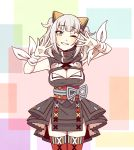 1girl black_dress breasts cleavage cleavage_cutout dress hair_ornament hairclip highres kaguya_luna kaguya_luna_(character) large_breasts obi one_eye_closed red_legwear sash silver_hair sleeveless sleeveless_dress smile solo suzushiro_(suzushiro333) thigh-highs twintails virtual_youtuber