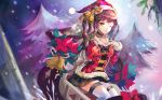 1girl :q absurdres ahoge alternate_costume bangs bell black_skirt blurry blurry_background blush breasts brown_hair choker christmas_ornaments christmas_tree eyebrows_visible_through_hair girls_frontline hand_on_own_chest haribo_kanten hat highres long_hair looking_at_viewer m14_(girls_frontline) medium_breasts one_eye_closed ribbon santa_costume santa_hat sidelocks sitting skirt smile snow snowing solo thigh-highs tongue tongue_out twintails white_legwear yellow_eyes