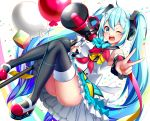1girl ahoge balloon blue_hair bow bowtie detached_sleeves eyebrows_visible_through_hair full_body hair_between_eyes hatsune_miku headphones long_hair looking_at_viewer magical_mirai_(vocaloid) mary_janes megaphone one_eye_closed open_mouth rukinya_(nyanko_mogumogu) shoes skirt solo thigh-highs twintails v very_long_hair vocaloid white_background