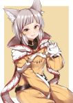 1girl animal_ears belt bodysuit cat_ears facial_mark fang gloves hair_ribbon jiino long_sleeves niyah open_mouth ribbed_bodysuit ribbon short_hair silver_hair simple_background sitting solo white_gloves xenoblade_(series) xenoblade_2 yellow_background yellow_bodysuit yellow_eyes yellow_ribbon