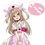 1girl apron bespectacled collared_shirt commentary_request glasses hair_ornament hat heart light_brown_hair long_hair looking_at_viewer natori_sana notice_lines nurse_cap ogami_kazuki pink_apron pink_eyes pink_hat puffy_short_sleeves puffy_sleeves red-framed_eyewear sana_channel shirt short_sleeves simple_background solo two_side_up v_arms virtual_youtuber white_background