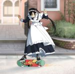 1girl apron black_hair blurry blurry_background long_hair maid maid_apron maid_headdress original outdoors shoes skateboard skateboarding sneakers solo suzushiro_(suzushiro333) twintails