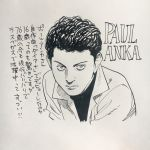 1boy character_name commentary_request curly_hair highres male_focus marker_(medium) monochrome paul_anka photo real_life solo traditional_media translation_request upper_body urasawa_naoki
